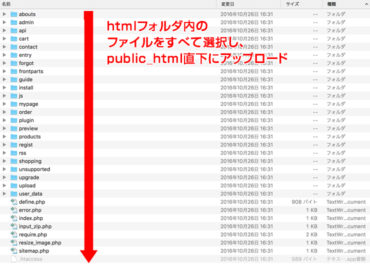 htmlフォルダ内のファイルをアップロード